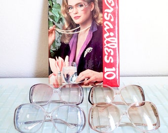 1980s Mod Sunglasses Big - Versailles 10 - 4 colors available - Dawn Blue, Coffee, Grape. Tawny Rose - New Old Stock