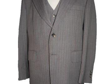 Vintage 1970s jacket Sportcoat Kean Ltd Hastings 42 Vest TaUpe gray with red Sb 2 button herringbone
