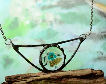 boho turquoise flower necklace, pretty summer jewelry, glass bar necklace, terrarium jewelry, affordable gift for her