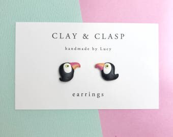 Toucan earrings - beautiful handmade polymer clay jewellery by Clay & Clasp