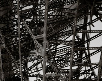 Black and White Industrial Metal Work Photograph
