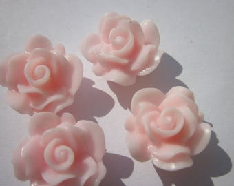 4 resin flowers to paste pink (F2)-