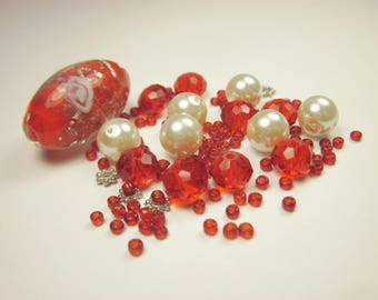 15 glass beads with seed beads (CA7)