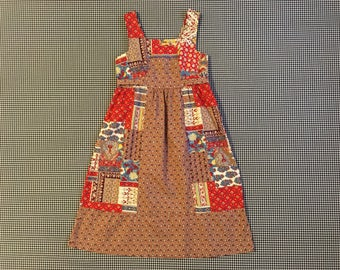 1970's, sleeveless, empire, tie-waist, dress, in cottage patchwork print, Girls' size Large, Women's size XS