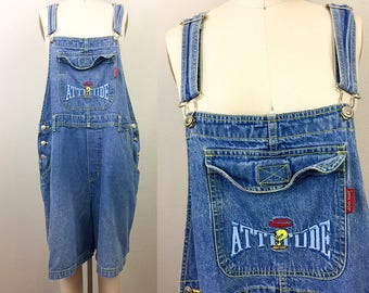 Vintage 90s TWEETY BIRD Denim Overalls Shorteralls World's Biggest Attitude Looney Tunes XL