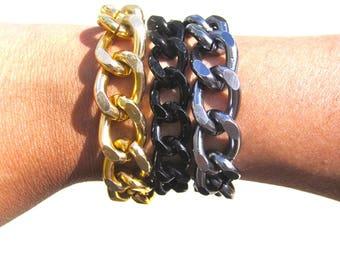 Gold   Black   Gun Metal   Bracelet Stack   Bracelet Set   Matching Bracelets   Chunky Chain   Curb Chain Bracelet   Chain Link Bracelets