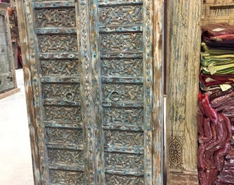 Antique Distressed Blue Floral Hand Carved Almirah , Cupboard, Wardrobe Moroccan Decor