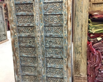 Antique Distressed Blue Intricate Floral Hand Carved Armoire , Cupboard, Wardrobe Cabinet Electic Rustic South Beach Interior