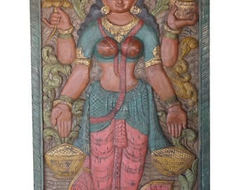 Wall Hanging Vintage Door Panel Carved Lakshmi Hindu Goddess of Wealth, Fortune and prosperity, YOGA , Puja Room, Panel Zen Decor FREE SHIP