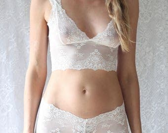 White Sheer Lace Longline Bralette and French knickers. Handmade Lingerie from Brighton Lace. Bridal Lingerie.