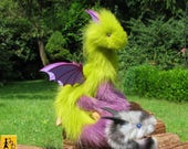 dragon posable doll kiwi green lilac wings fantasy pet miniature faux fur handmade by Jerseydays