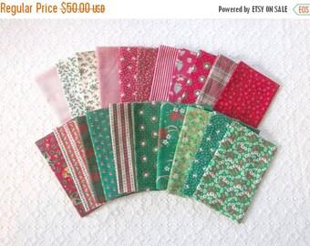 MAKERSALE Vintage Christmas Holiday Fat Quarter Bundle Fabric 21pcs