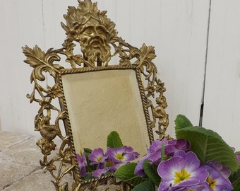 Antique mirror gilt bronze framed mirror mystical face / koi fish Victorian gothic mirror / neoclassical wall hanging mirror table mirror