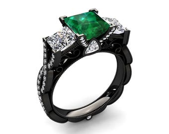 Black Gold Emerald Ring 1.35 Carat Princess Cut Emerald And Moissanite Three Stone Ring In 14k or 18k Black Gold CF22GBK