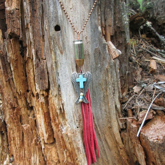 Red Tassel Bullet Charm Necklace with Angel Wings