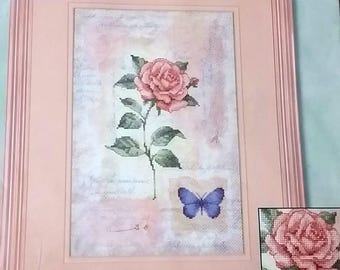 """2000 Dimensions Delicate Rose 'Whispers' 35042 Counted Cross Stitch Kit 8"""" x 12 """" hard to find"""