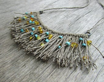 "CLEARANCE SALE Natural linen necklace Linen fringe necklace Amber and turquoise necklace Linen bib necklace Linen jewelry ""Gnome beard"""