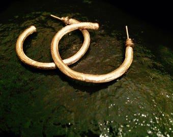 Old World Egyptian Gold Brush Hoop Earrings