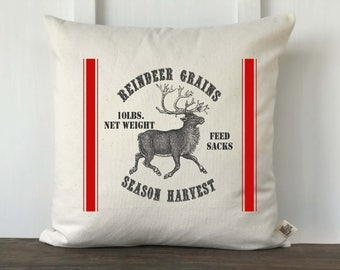 Christmas Reindeer Feedsack Pillow Cover, Christmas Pillow, Farmhouse Pillow, Decorative Pillow, Vintage Pillow, Reindeer Grain Sack No 10
