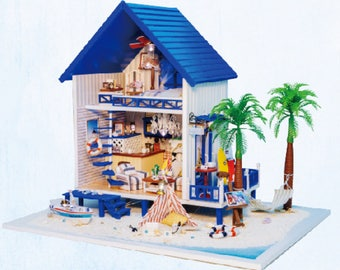 Summer Beach villa * Summer Holiday * Light and music * DIY Handcraft Miniature Project * Wooden Dollhouse Kit * Birthday Gift