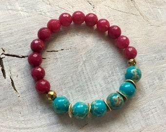 Beaded Gemstone Bracelet- Gemstone Stretch Bracelet