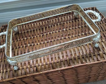 Silver caddy, vintage silver, dish caddy, serving tray