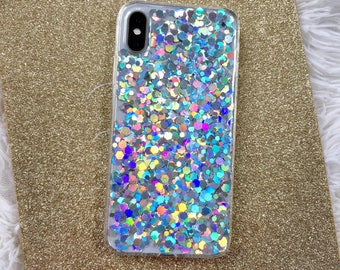 Holographic Rainbow Glitter iPhone Case, iPhone 7 Case, iPhone 8 Case, Hologram Case, Irisdecent Case