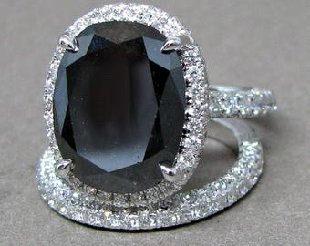 10ct Black Diamond Oval Engagement Ring Bridal Wedding Set 18k White Gold Pave Band
