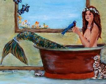 "Spring Mermaid, Mermaid Art Print Matted to 8""x10"" by Linda Queally"