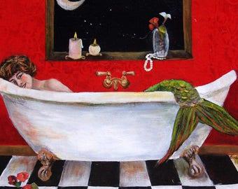"Moonlight Soak, Mermaid Art Print Matted to 8""x10"" by Linda Queally"
