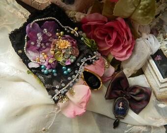 Wrist cuff embroidered and decorated, brocade, shibori silk, freshwater pearls, antique lace , cameo