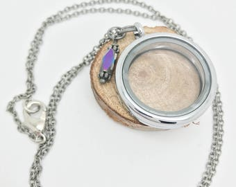 30mm Floating Locket - silver rolo chain with iridescent purple bangle