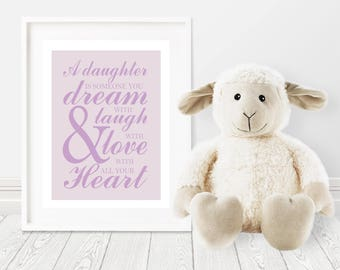 Baby Girl Nursery Wall Decor-daughter-dream-laugh-love-Purple Nursery Decor-Inspirational Nursery Quote-Kids Inspirational-Typography-girls