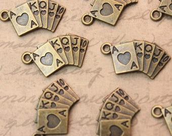 Bulk 40 Poker Charms Poker Pendants Antiqued Bronze Tone 10 x 20 mm