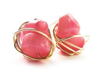 CHIBI stud earrings // Grade A coral stud earrings // Gold filled stud earrings // Gift for her