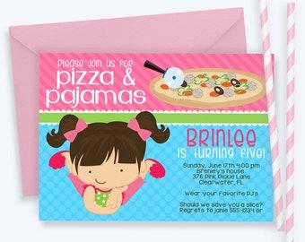 Pizza and Pajamas Invitations, Pizza and Pajama Party Invitation, Pizza and Pajamas Birthday, Pajamas Invitation, Pizza Invitation | 376