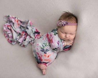 FLORAL NEWBORN WRAP • Stretch Knit Wrap • Swaddle Wrap • Baby Wrap • Stretchy Knit Layer • Newborn Photo Prop | Ready To Ship