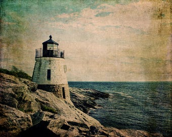 Castle Hill Lighthouse Fine Art Photography Rhode Island Lighthouse Nautical Print Cabin Decor Lake House Beach East Coast Ocean New England