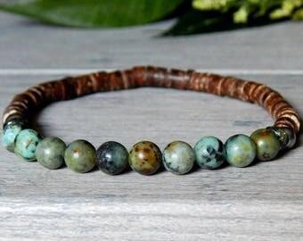 Mens African Turquoise Bracelet, Mens Bracelet, Man Bracelet, Mens Wood Bracelet, Men's Jewelry, Man Jewelry, Mens Beaded Bracelet