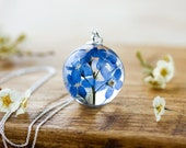 Forget Me Not Necklace - Pressed Flowers Globe , Gifts For Her , Memorial Necklace , Something Blue , Resin Necklace , Bridal Jewelry