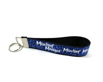 Harry Potter key fob, Ravenclaw key chain, Mischief Managed wristlet keychain, Fabric Wristlet, Fabric Key Ring