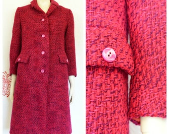 Pink tweed coat | Etsy