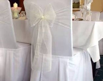 25x Ivory Chair Sashes Bow Cover for Wedding Engagement Event Party Reception Ceremony Bouquet