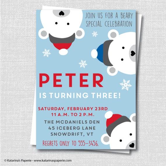 Boy Polar Bear Peek A Boo Invitation Polar Bear Themed Party