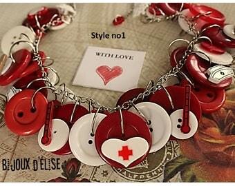 Nurse Necklace Medical Bib Nurse Necklace Buttons Necklace (CO76)