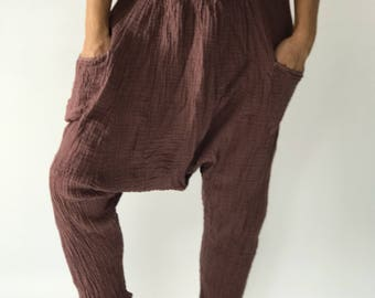 "HL0196 Brown Harem Pants super soft rayon baggy unisex harem pants have the ""flow"", perfect of yoga"