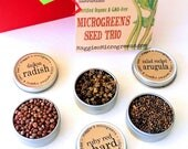 DIY Microgreens CUSTOM Mini Seed Kit Indoor Garden - Choose Any 3 Organic Vegan Gourmet Microgreens Seeds in Holiday Gift Bag w Instructions