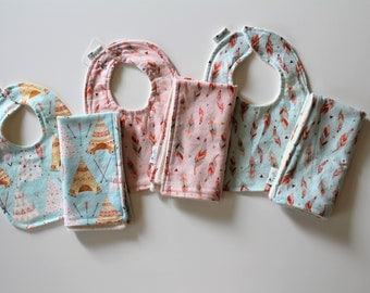 Girls Baby Bib and Burp Cloth Set, Newborn Gift, Baby Shower Gift, Organic Cotton