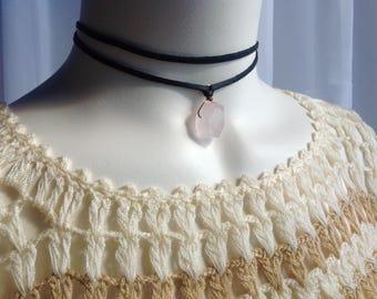 Chunky Rose Quartz Crystal, Black Flat Leather Double Strand Choker, Healing Crystal Choker, Gift for her
