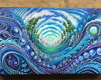 We All Wander Floating in Time - Mini Canvas Print - by Morgan Mandala, Randal Roberts, Krystleyez and Sweet Melis -Abstract Psychedelic Art
